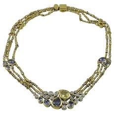 Manfredi Diamond, Yellow & Blue Sapphire 18K Yellow Gold Necklace