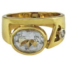 Manfredi Aquamarine & Diamond 18K Yellow Gold Ring