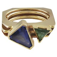 Lee Marraccini Tanzanite & Green Tourmaline 14K Yellow Gold Ring