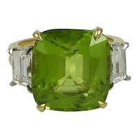 Oscar Heyman Burma Peridot & Diamond 18K Yellow Gold Ring