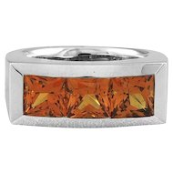 Horst Lang Mandarin Garnet 3 Stone 18K White Gold Ring