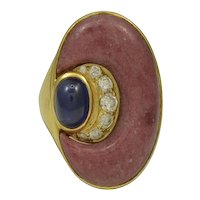 Bvlgari Diamond, Sapphire & Rhodochrosite 18K Yellow Gold Ring