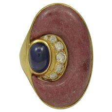 Bvlgari Diamond, Sapphire & Rhodochrosite 18K Yellow Gold Ring