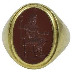 Bvlgari Carnelian Intaglio 18K Yellow Gold Ring