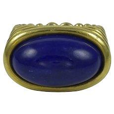 Frank Ancona Cabochon Lapis 18K Gold Ring