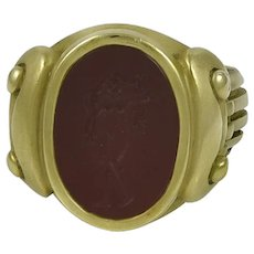 Kieselstein-Cord Carnelian Intaglio 18K Green Gold Ring