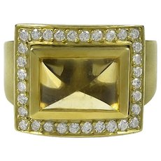 Kieselstein-Cord Citrine & Diamond 18K Green Gold Ring