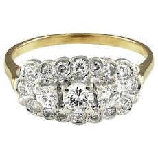 Diamond Cluster 18K Yellow Gold Ring
