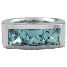 Horst Lang Aquamarine 3 Stone 18K White Gold Ring