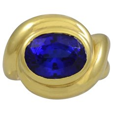 Belperron Tanzanite 18K Yellow Gold Ring