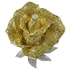 Sabbadini Fancy Intense Yellow & White Diamond 18K Yellow Gold Flower Brooch