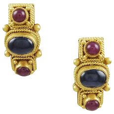 Sapphire & Ruby 22K Yellow Gold Earrings