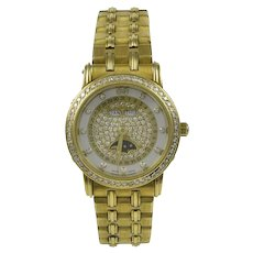 Blanpain Ladies Diamond Face 18K Yellow Gold Watch