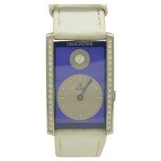 Bunz Blue Face Diamondtime Stainless Steel Quartz Watch