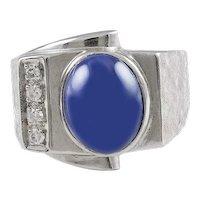 """Lindy"" Star Sapphire & Diamond 14K White Gold Ring"
