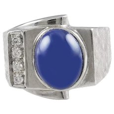 """Lindy"" Star Sapphire & Diamond 14K White Gold Ring"
