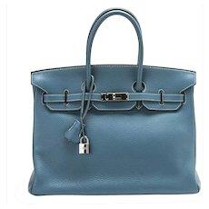 Hermes Blue Jean 35cm Clemence Birkin Bag with Palladium Hardware 49d8cca72ebcd