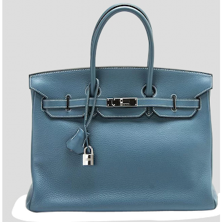 Hermes Blue Jean 35cm Clemence Birkin Bag with Palladium Hardware