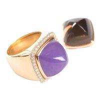 Fred Paris Pain De Sucre Interchangeable Diamond Lavender Jade and Smoky Quartz Ring