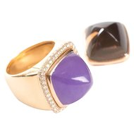 Fred Paris Pain De Sucre Interchangeable Diamond Lavender Jade and Smoky Quartz Ring