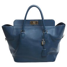 Hermes 33cm Swift Thalassa Blue Toolbox Birkin Bag