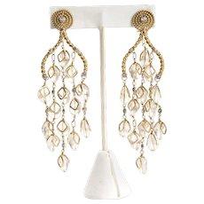 Kara Ross Moonstone 18k Gold Chandelier Earrings