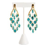 Kara Ross Turquoise 14k Gold Taj Chandelier Earrings