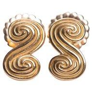 Tiffany Co. 18k Yellow Gold Scroll Earrings