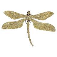 Fred Leighton  Yellow Diamond Gold Tremblant Dragonfly Pin
