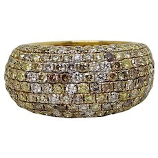 3.34 Carat Multi-Colored Diamond Yellow Gold Ring