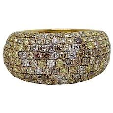 3.34 Carat Multi-Colored Diamond Yellow Gold Ring