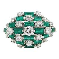 Baguette Emerald and Diamond Platinum Ring