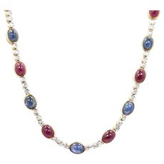 18K Yellow Gold Diamond, Ruby Cabochon and Sapphire Necklace