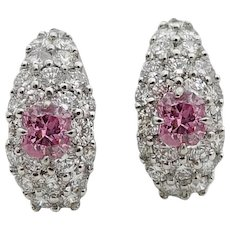 Fancy Intense Pink and White Diamond Platinum Earrings