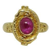 1.50 Carat Cabochon Ruby Yellow Gold Ring