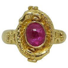 1.50 Carat Cabochon Ruby Yellow Gold Ring