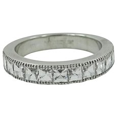 18K White Gold Half Way Bamboo Diamond Band Ring