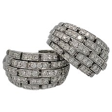 "Cartier ""Oriane"" Diamond Gold Half Hoop Earrings"