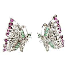 14K White Gold Butterfly Earrings