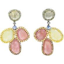18K Tri Colored Sapphire And Diamond Earrings