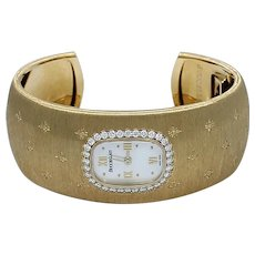 Buccellati Yellow Gold Diamond Mother-of-Pearl Quartz Bracelet Wristwatch