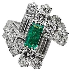 Colombian Emerald and Diamond White Gold Ring