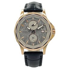 Corum Rose Gold Admiral's Cup Legend 42 Meteorite Dual Time Automatic Wristwatch