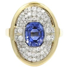 18KWhite And Yellow Gold Sapphire And Diamond Ring