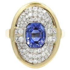 18KWhite And Yellow Gold Sapphire And Diamond Ring