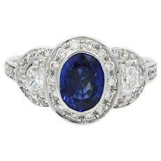 18K White Gold Sapphire And Diamond Ring