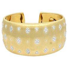 18K Yellow Gold Buccellati Diamond Cuff Bracelet