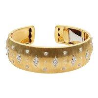 18K Yellow and White Gold Diamond Buccellati Bracelet Cuff