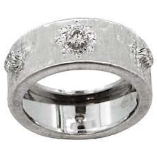 18K White Gold Buccellati Diamond Band Ring
