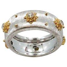 18K White Gold Buccellati Macri Diamond Band Ring